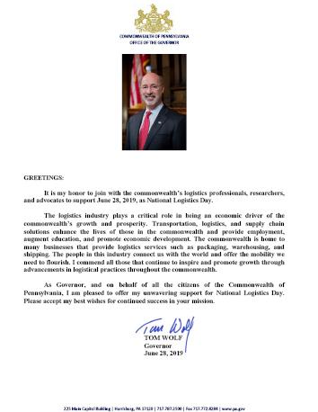 Proclaimation Letter 02 - Gov. Tom Wolf