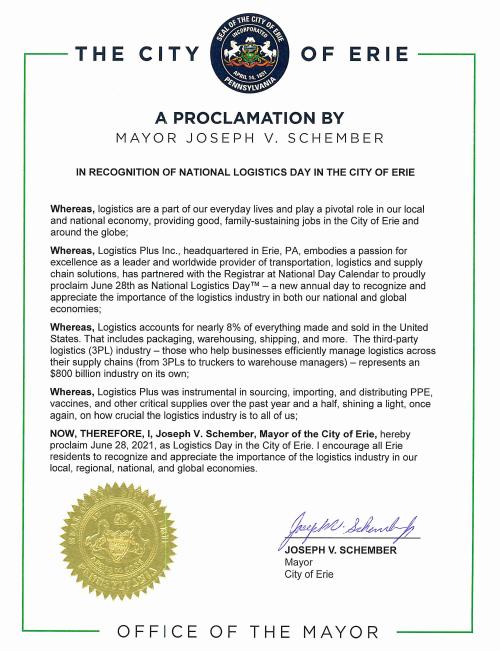 2021 Erie Mayor Proclamation